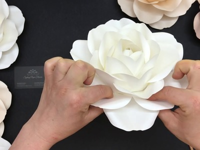 Small rose paper flowers video tutorial with one piece template. How to make a rose paper flower
