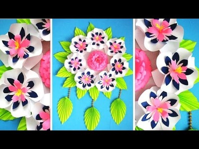 Wall Decoration Ideas   Beautiful Wall Hanging Making at Home   Paper Flower Wall Hanging j7