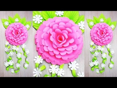 Wall Decoration Ideas | Beautiful Wall Hanging Making at Home | Paper Flower Wall Hanging 7и