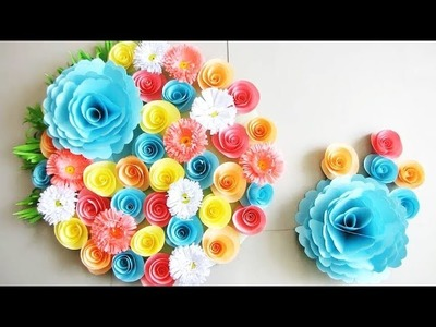Wall Decoration Ideas | Beautiful Wall Hanging Making at Home | Paper Flower Wall Hanging ч0