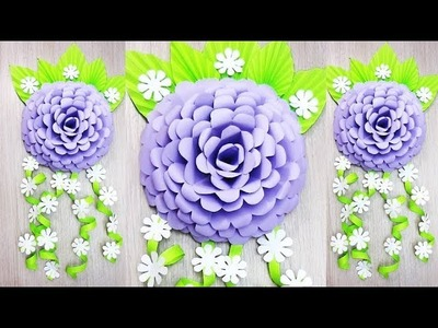 Wall Decoration Ideas   Beautiful Wall Hanging Making at Home   Paper Flower Wall Hanging р8