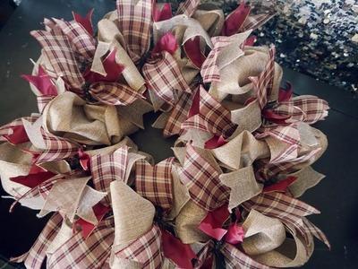 DIY Christmas Burlap Wreath    Vlogmas Day 18