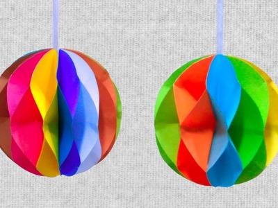 DIY Christmas Decorations Paper Ball - Colored Hanging Paper Ball Making with paper