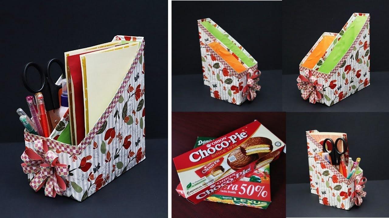 DIY Desk Organizer From Empty Biscuit Box  File Holder. Magazine Organizer   Best Out of Waste