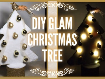 DIY Glam Lighted Gold & White Christmas Tree Centerpiece - Dollar Tree Christmas Decor