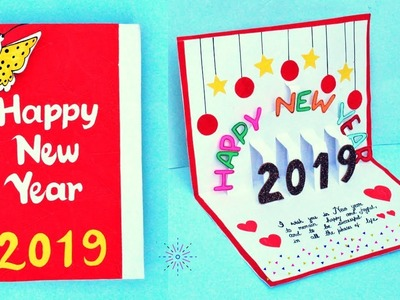 DIY New Year Pop Up Greeting Card.How to make Greeting Card for New Year 2019
