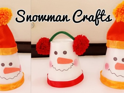 DIY Snowman.Snowman Making from Disposal Cups.Snowman Crafts for Kids.Christmas Decoration Ideas