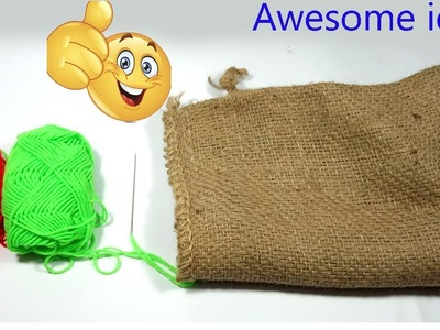 Excellent idea with jute sacks  DIY Arts and Crafts With Jute Sack!!Jute Sack craft!with Woolen