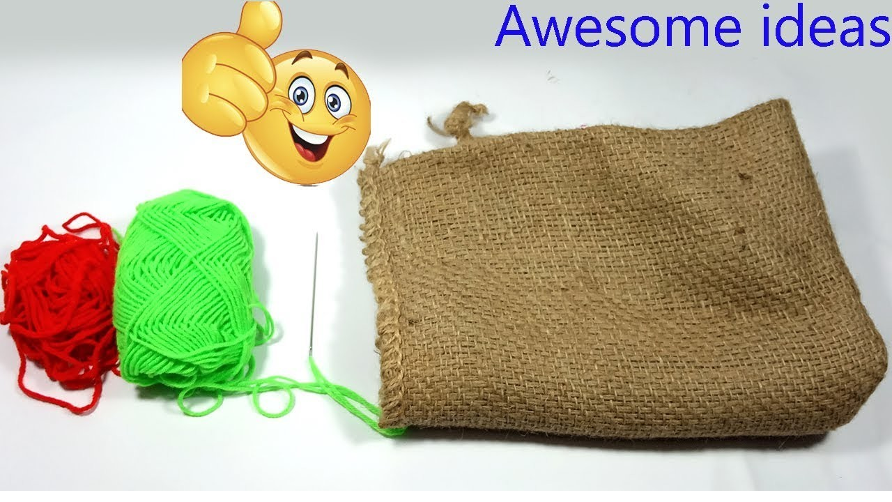 Excellent idea with jute sacks| DIY Arts and Crafts With Jute Sack!!Jute Sack craft!with Woolen