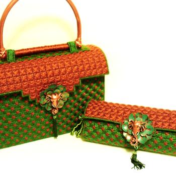 Exotic Copper and Emerald Green Handbag Set