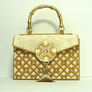 Exotic Ivory and Gold Handbag