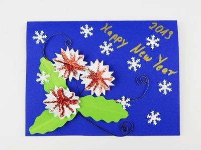 Happy New Year Greeting card with flowers DIY Scrapbooking Karte mit Blumen Neujahr