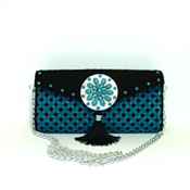 Jeweled Black and Turquoise Large Clutch