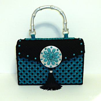 Jeweled Black and Turquoise Handbag