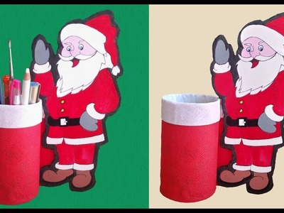 Santa Pen Stand | Pencil Holder Ideas | Santa Claus Pen Holder | How to make Pen Stand