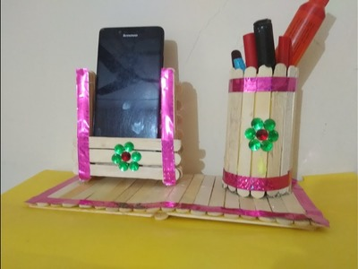 WOW | DIY | Pen And Stand And Mobile Phone Holder With Ice Cream Sticks