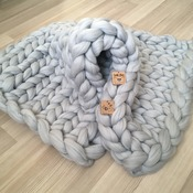 Chunky Knit Blanket - Merino Wool Blanket - Chunky Blanket - Arm Knit Blanket