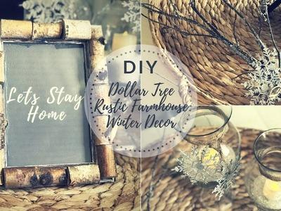 DIY DOLLAR TREE RUSTIC FARMHOUSE WINTER DECOR
