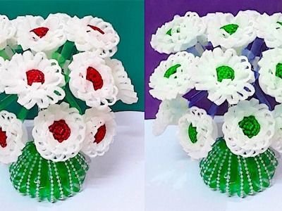 DIY-Guldasta from Plastic Bottle with glitter Foam flower at home| Best out of waste Flower vase
