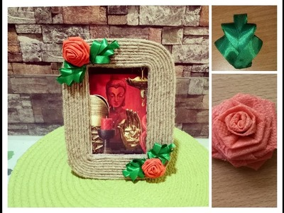 DIY Photo Frame from Jute, Card Board and Flowers made from fabric bag I Recycling