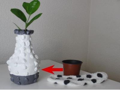 DIY Vase aus einer Socke und einem Blumentopf.Deko.Decoration.DIY vase from a sock and a flower pot