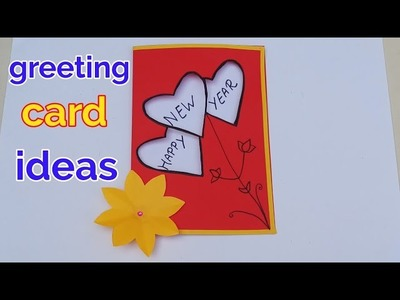 Happy New year greeting cards | greeting card making ideas | paper heart greeting cards crafts ideas