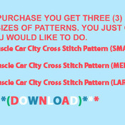 Muscle Car City Cross Stitch Pattern***LOOK***X***INSTANT DOWNLOAD***