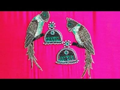 AARI work tutorial jumkka and parrot PATTERN  figure work with Zardosi, BEAD & sequence in unique on