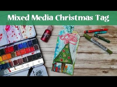 Christmas Mixed Media Tag with Distress Crayons and Pitt Pens