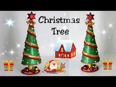 Christmas Tree from Glitter Foam Sheet.Christmas Tree Making.Christmas tree decoration for kids.diy