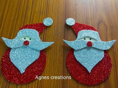 DIY Santa claus making video for ur x-mas tree and wall decor | Foam sheet Santa claus making  video
