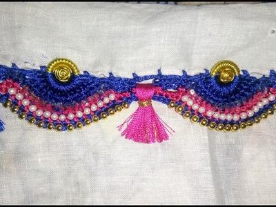 Dount ring saree kuchu design with pearl and gold bead