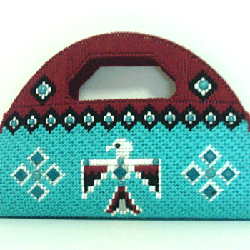 Jeweled Native American Turquoise and Dark Red Purse