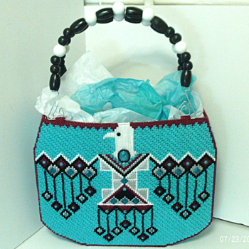 Jeweled Native American Turquoise and Dark Red Tote bag