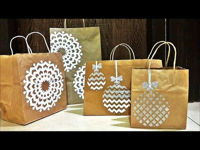 Paper bag decoration with a Christmas theme