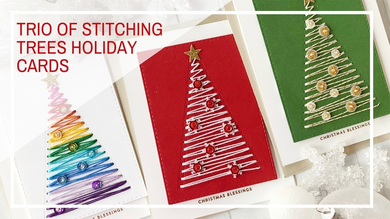 Simon Says Stamp | Trio of Stitching Trees Christmas Cards