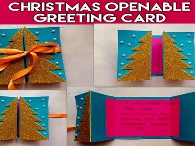 Christmas greeting card handmade designs easy 2018.openable greeting.Christmas tree.kids easy craft