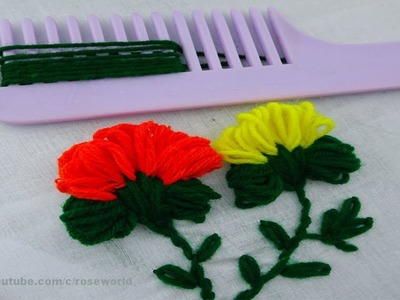 Hand embroidery easy flower embroidery tricks| sewing hacks with hair comb
