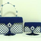Shinny Royal Blue and White Handbag & Clutch set