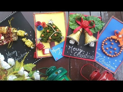Christmas greeting cards diy ( 4 easy and unique Christmas cards)????????????part 1