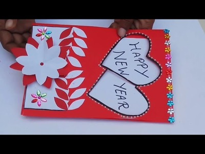 Happy New year greeting cards ideas,  greeting card making ideas Handmade   heart greeting card idea