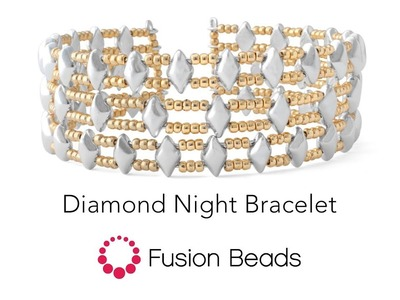 Make the Diamond Night bracelet with 2-hole glass beads by Fusion Beads