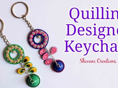 Quilling Designer Keychain. DIY Quilling Key Chain. How to make Key Ring