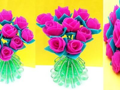ROSE FLOWER FOAM GULDASTA.DIY MAKE FOAM FLOWER GULDASTA