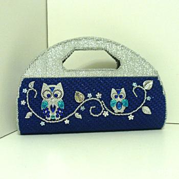 Royal Blue and Sliver Jeweled Owl Handbag