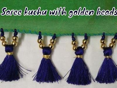 Saree kuchu with golden beads. How to make saree kuchu. saree tassels(tutorial)