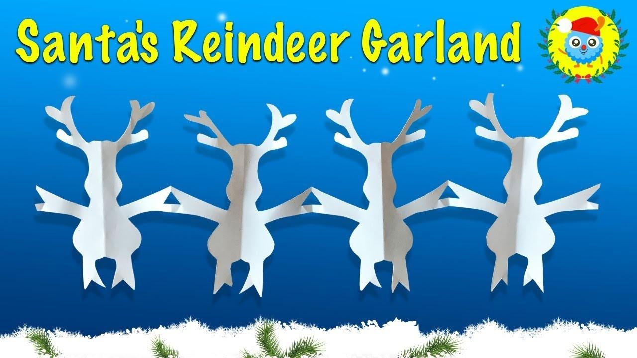 2018 Santa's Reindeer Garland ???? Christmas Garland of Paper ???? Easy DIY Paper Crafts [4K]