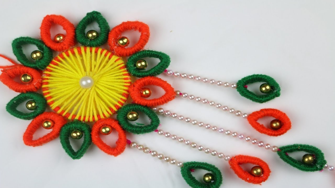 Amazing Crafts Ideas || How to Make Door Hanging Toran - Woolen Craft Idea - DIY arts and crafts