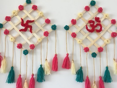 Beautiful and easy wall hanging  Best use of waste cutting of POM POM and Ice cream stick