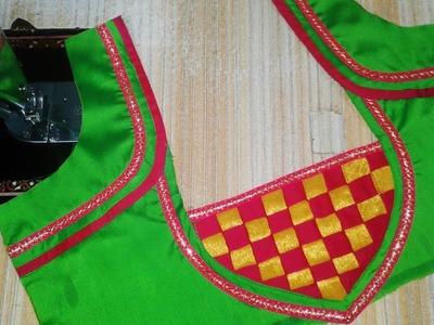 Beautiful patch work blouse designs cutting and stitching